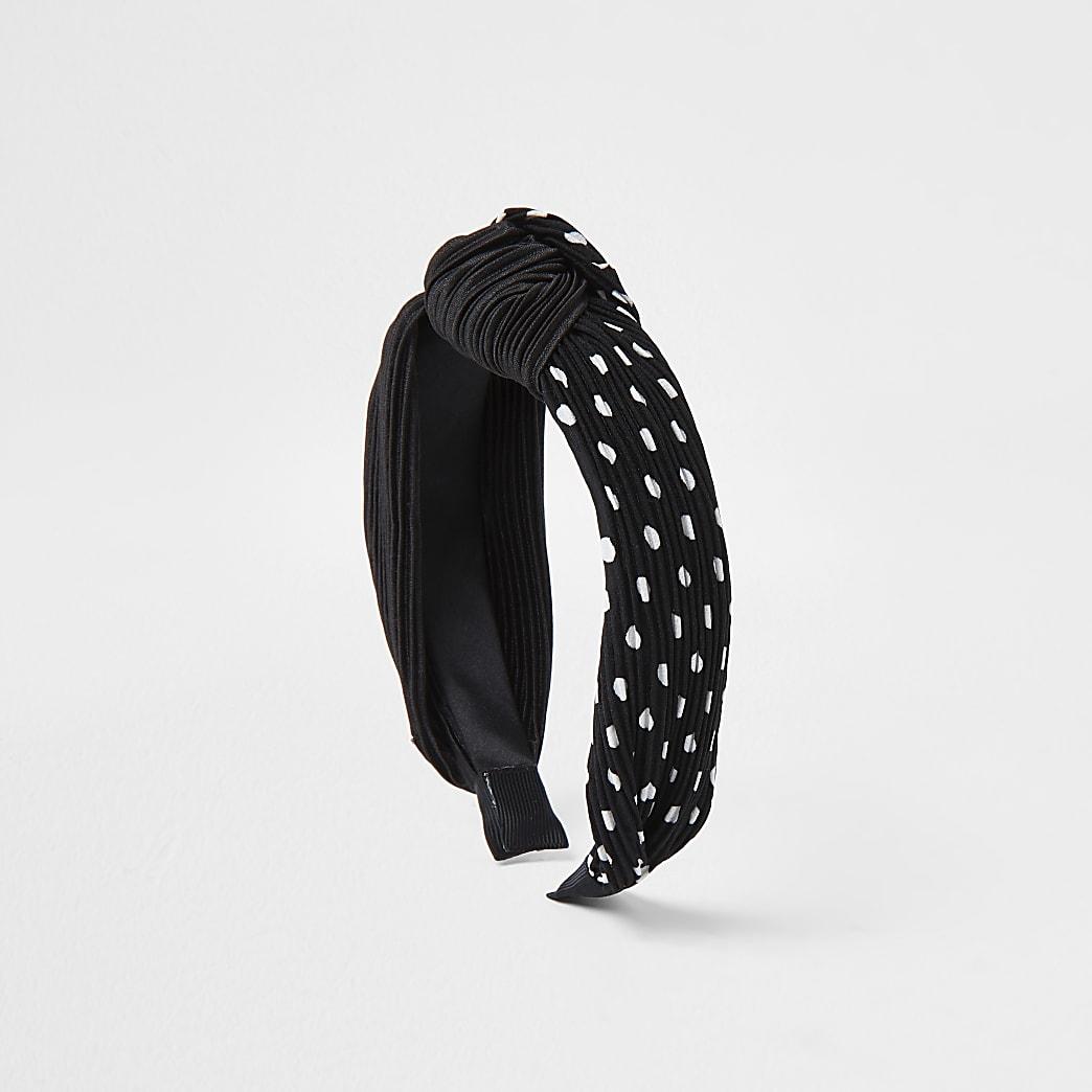 Black Half Spot Plisse Knot Headband