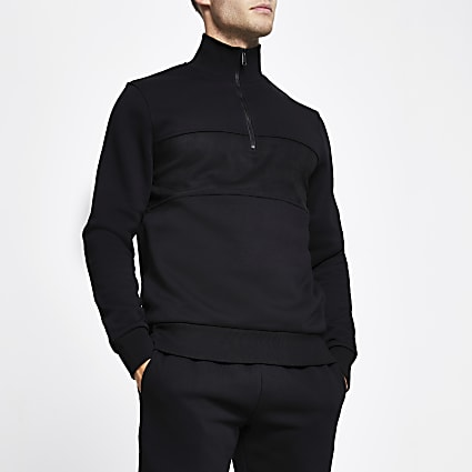 Black half zip long sleeve funnel neck jumper