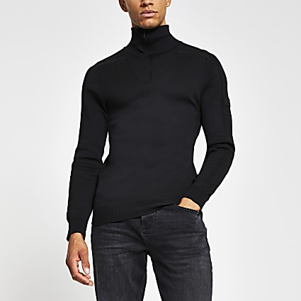 Black half zip muscle fit knitted jumper