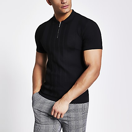 Black half zip muscle fit knitted polo shirt