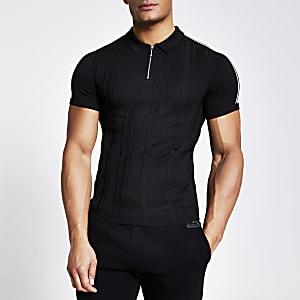 Schwarzes Muscle Fit Feinstrick-Poloshirt mit Kurzreißverschluss