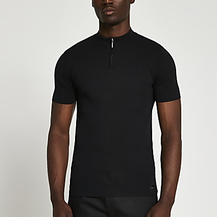 Black half zip smart knit t-shirt