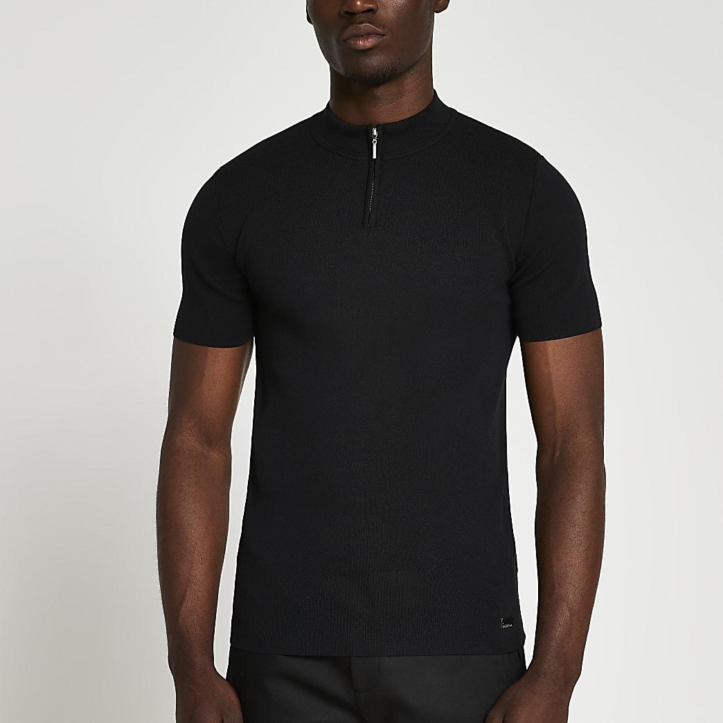 Black half zip smart knit t-shirt