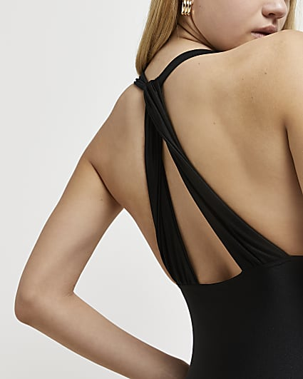 Black halter neck bodysuit