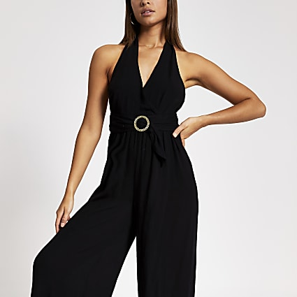 Black halter neck flare beach jumpsuit