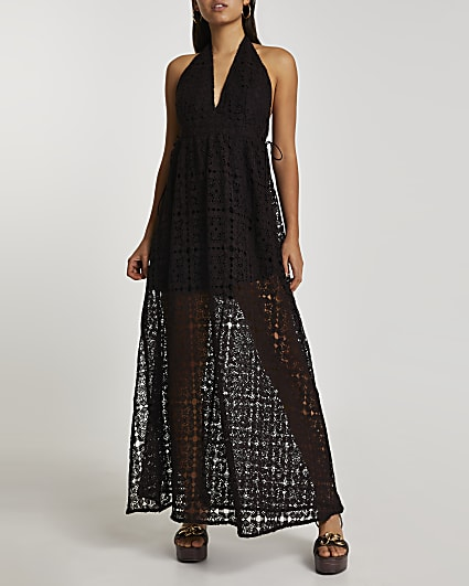 Black halter neck maxi dress
