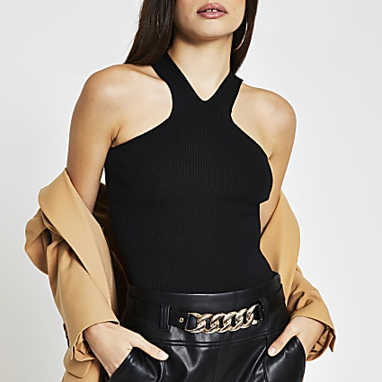 Black halter neck vest top