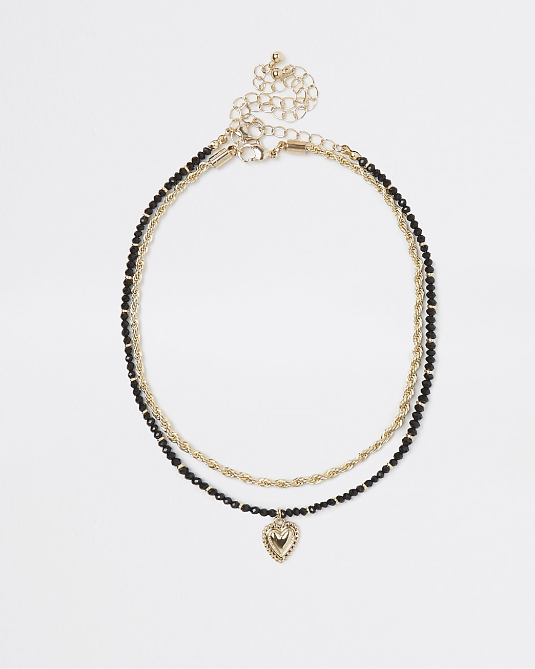 Black heart pendant multirow choker