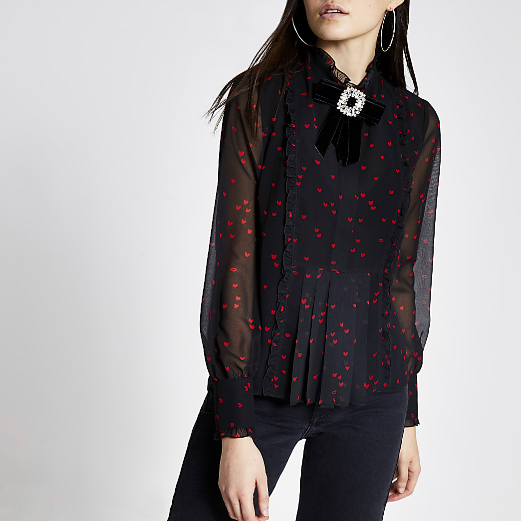 Black heart print diamante brooch blouse