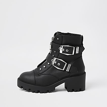 Black heeled biker ankle boot