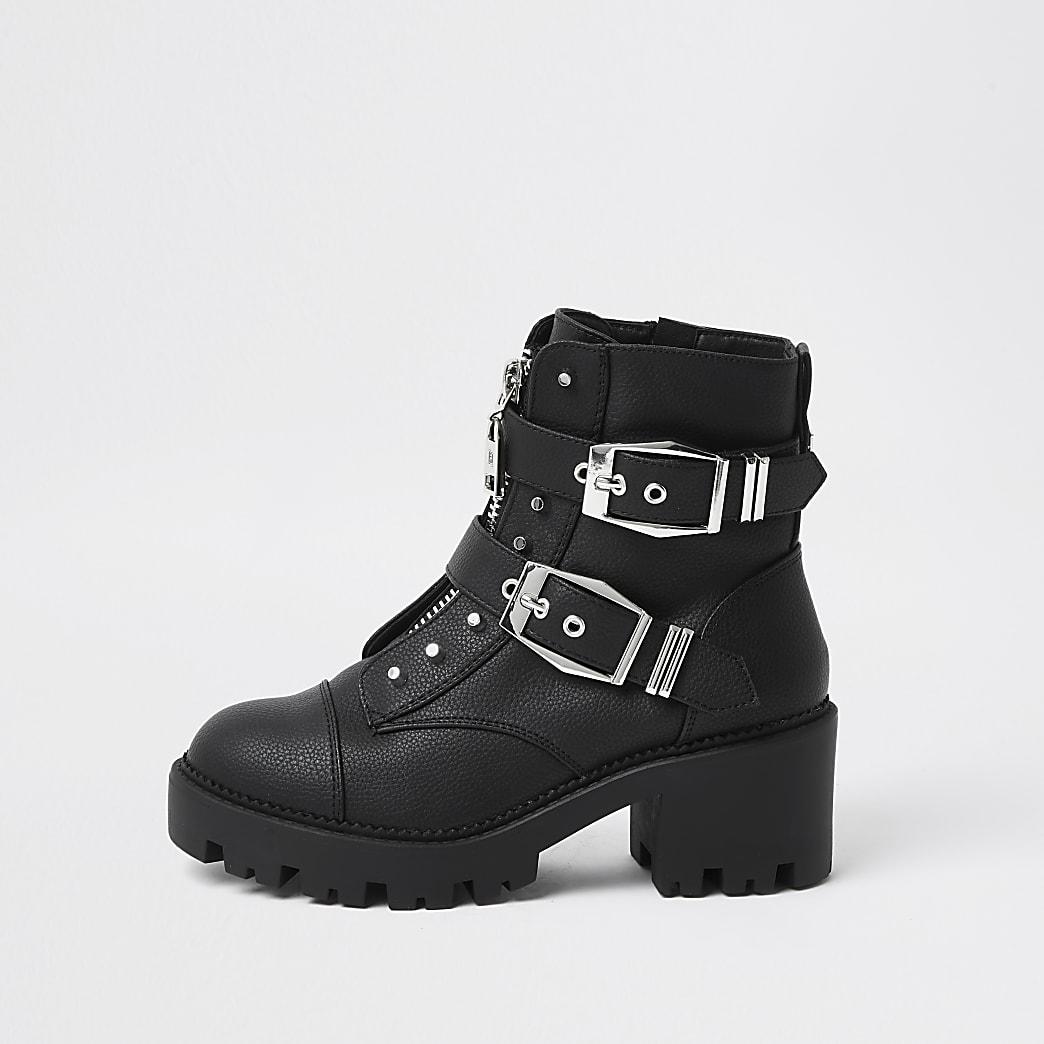 Black heeled biker ankle boot