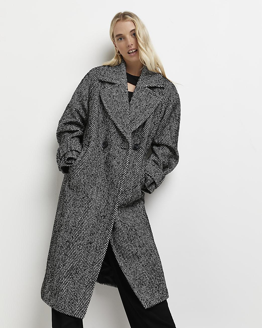 Black herringbone double breasted coat