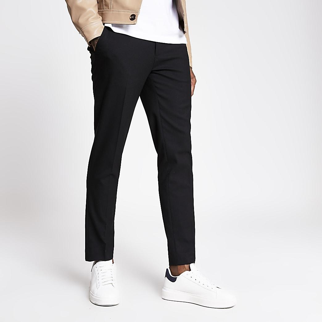 Schwarze Skinny Fit Hose mit Fischgrätmuster