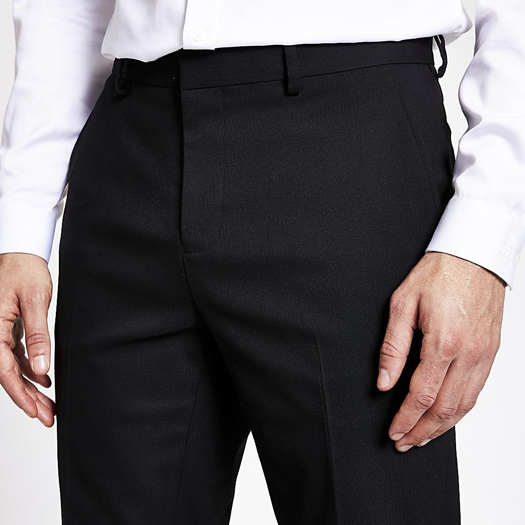 Schwarze Slim Fit Hose mit Fischgrätmuster