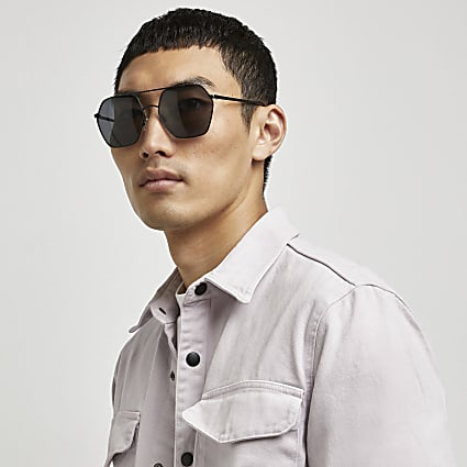 Black hexagon shape aviator sunglasses