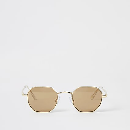 Black hexagon shape sunglasses