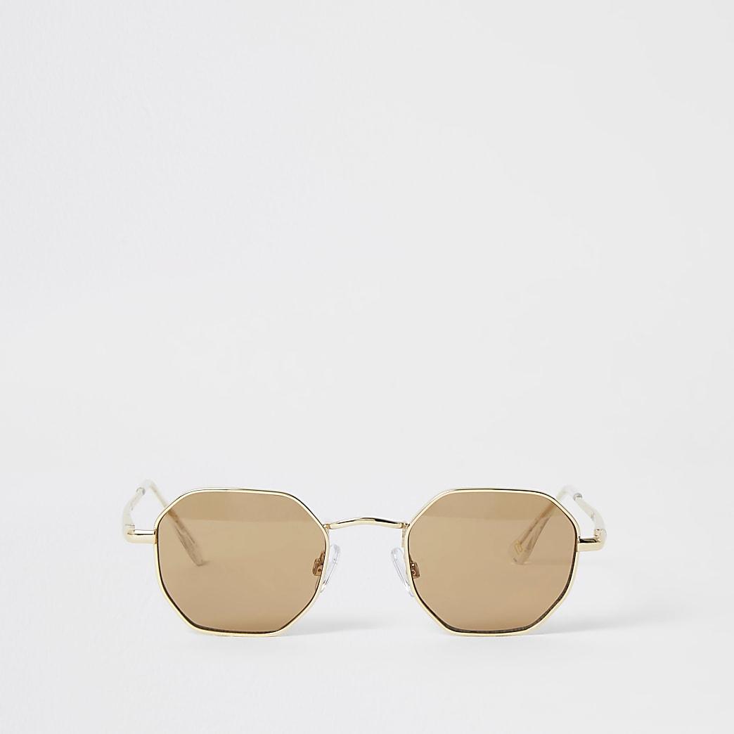 Schwarze, sechseckige Sonnenbrille
