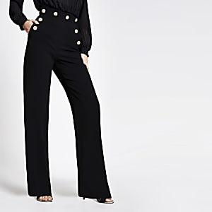 Zwarte broek met wijde pijpen en hoge taille met knopen