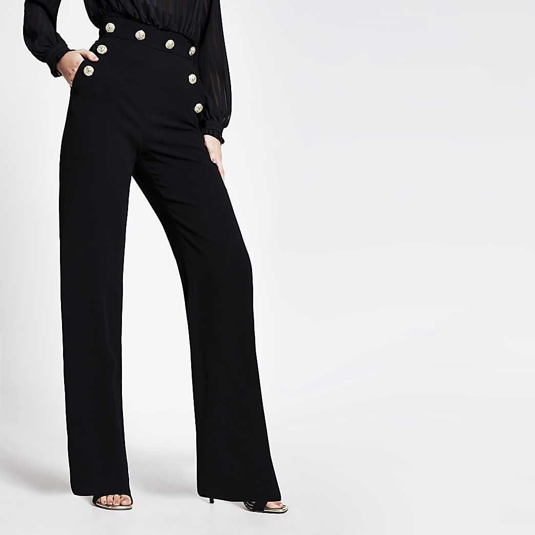 Black high button waist wide leg trousers