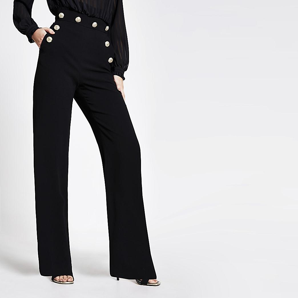 Verbazingwekkend Zwarte broek met wijde pijpen en hoge taille met knopen   River Island LJ-93