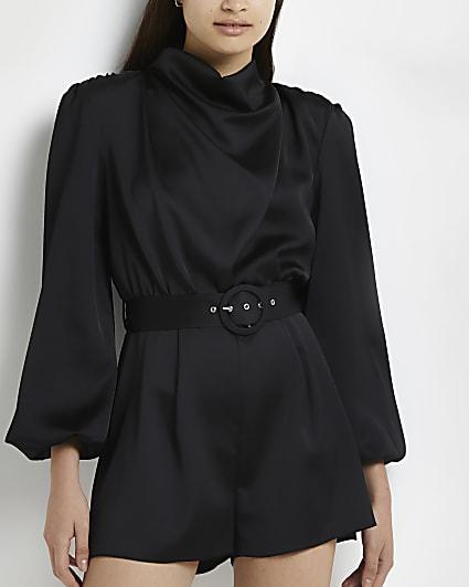 Black high cowl neck belted playsuit