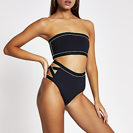 Black high cut out waist bikini bottoms
