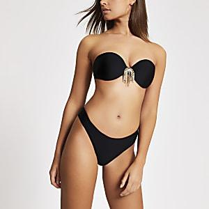 Zwart hoogopgesneden bikinibroekje