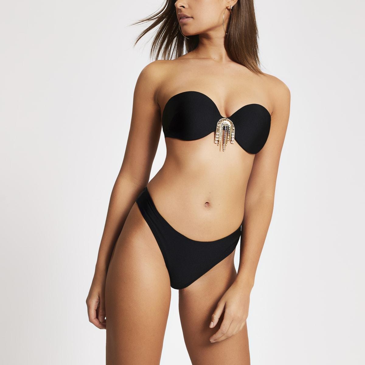 Black high leg bikini bottoms