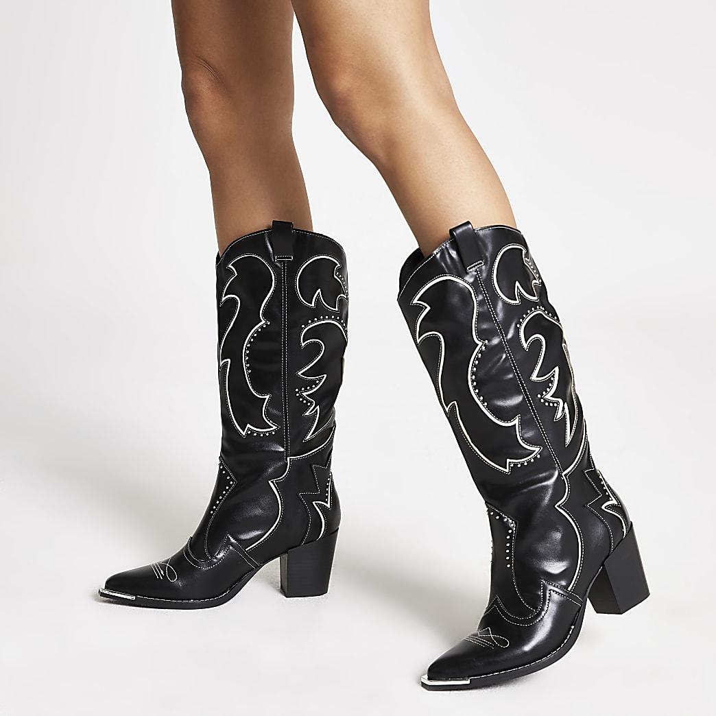 Femme Bureau Plus Bas Coupe Bottes Western Serpent Bottes en cuir