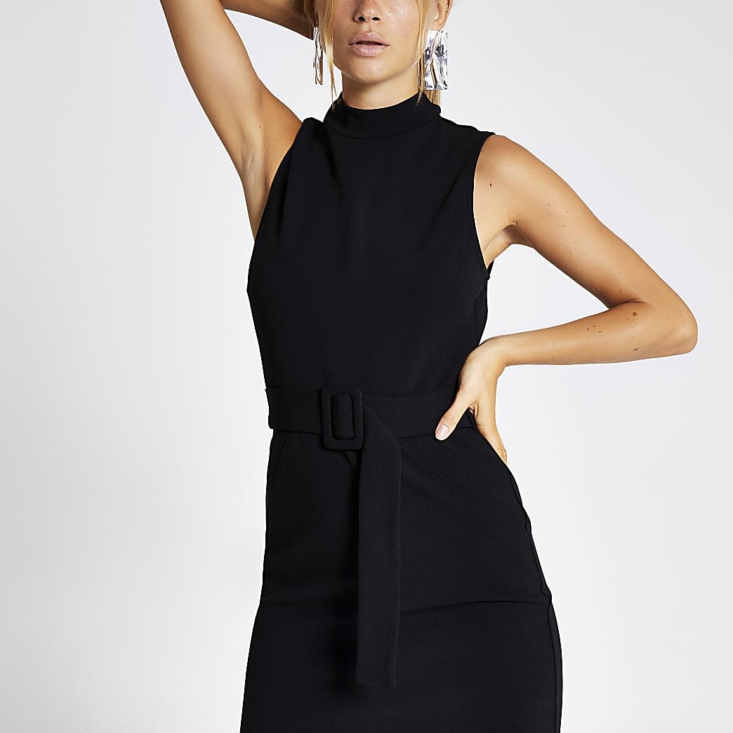 Black high neck belted midi bodycon dress