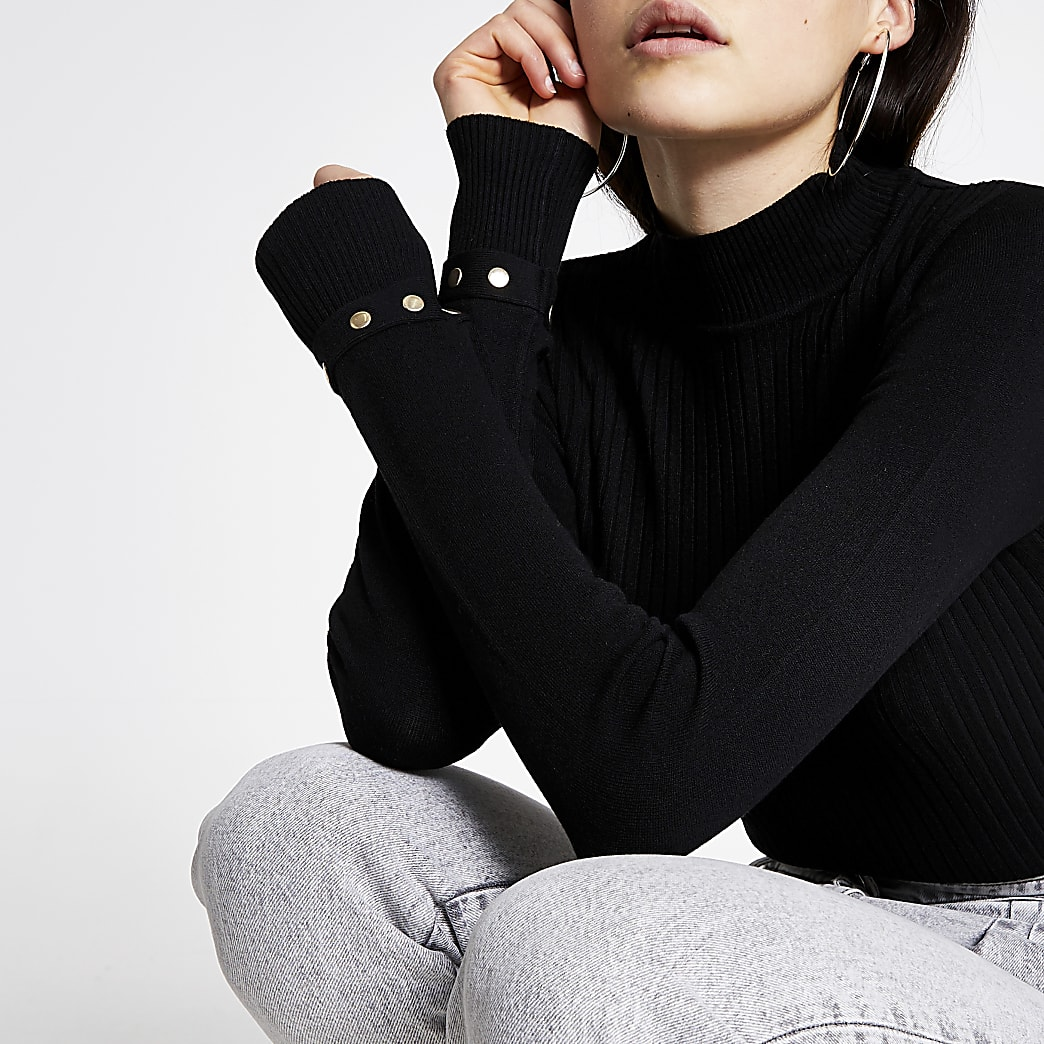 Black high neck fitted ribbed knit jumper