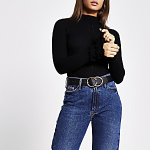 Black high neck frill cuff knitted top