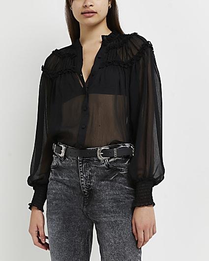 Black high neck mesh shirt