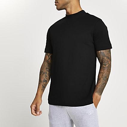 Black high neck slim fit t-shirt