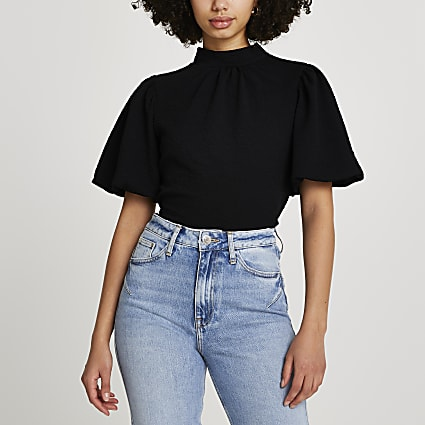 Black high neck tie back blouse top