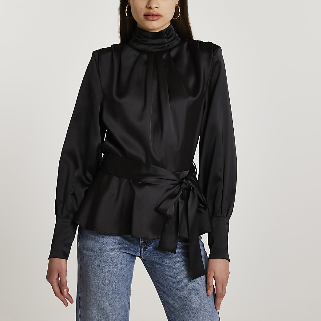 Black high neck trim long sleeve top
