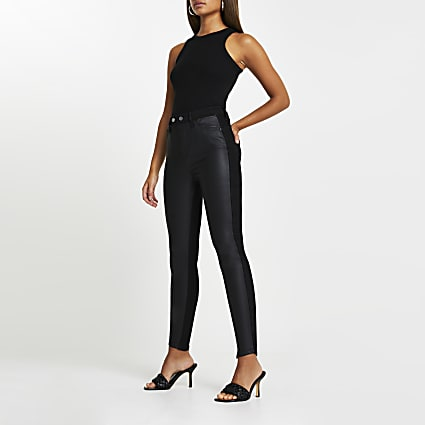 Black high rise PU front bum sculpt jeans