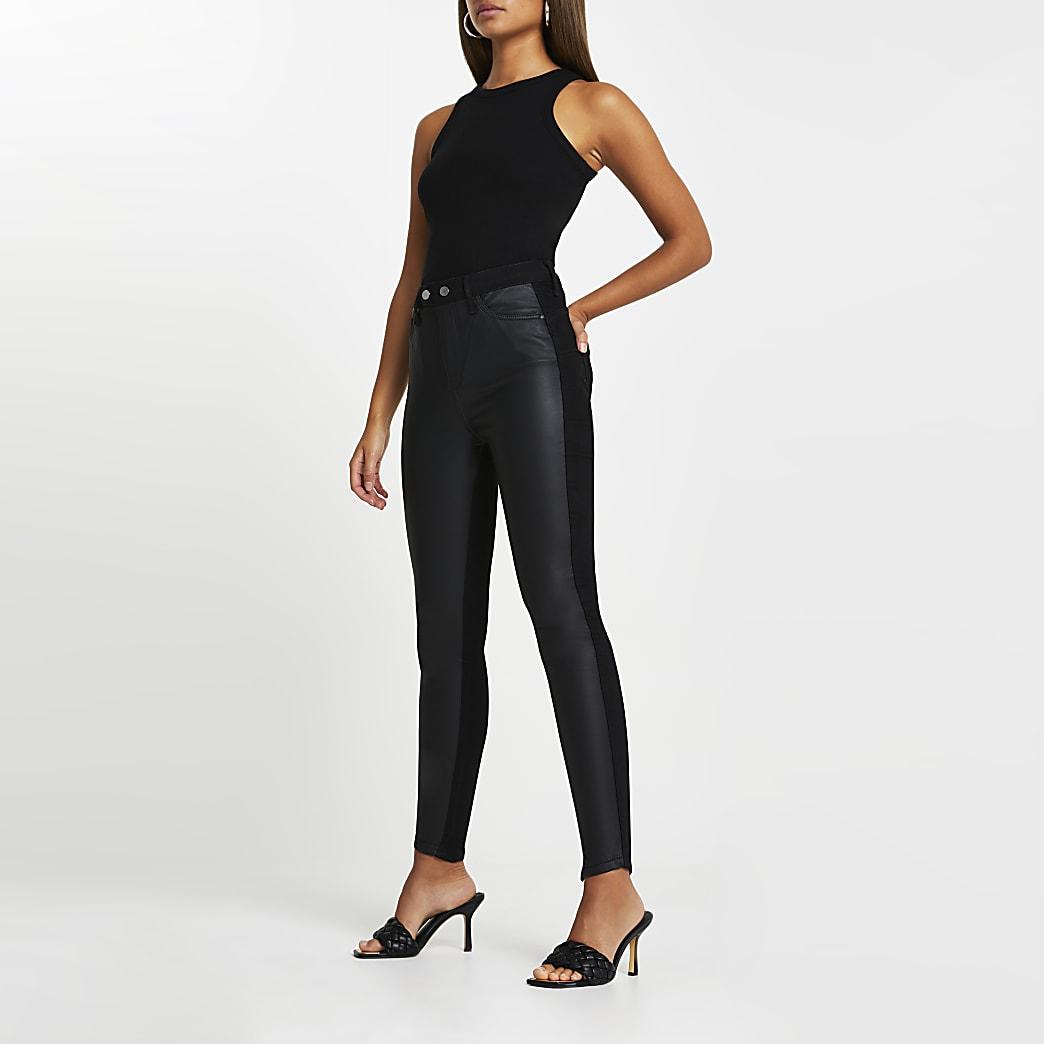 Black high rise PU front bum sculpt jeans