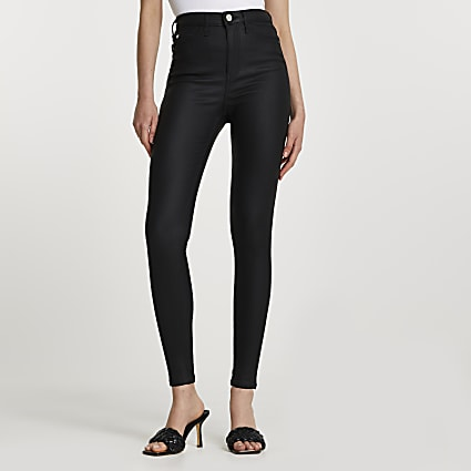 Black high rise skinny coated jeans