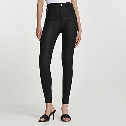 Black high rise skinny coated jeans