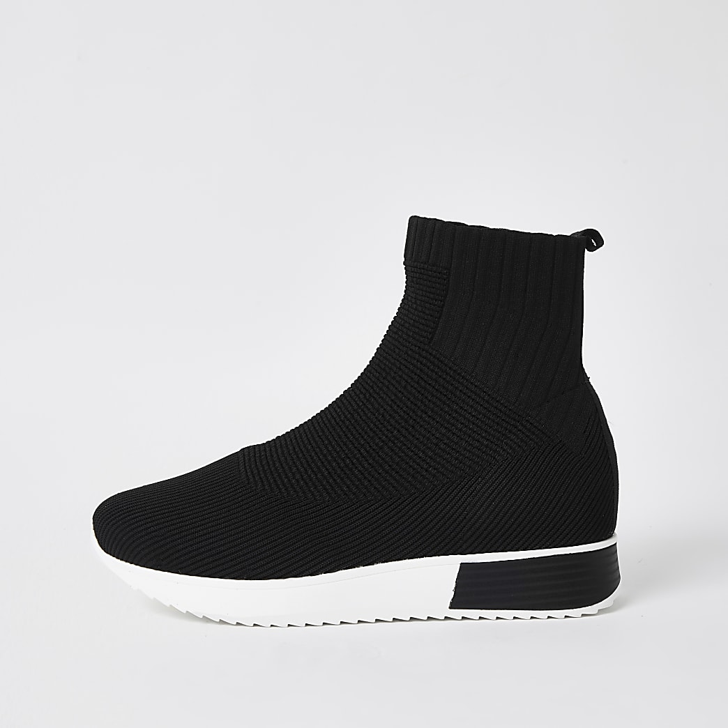 Black high top sock runner trainers