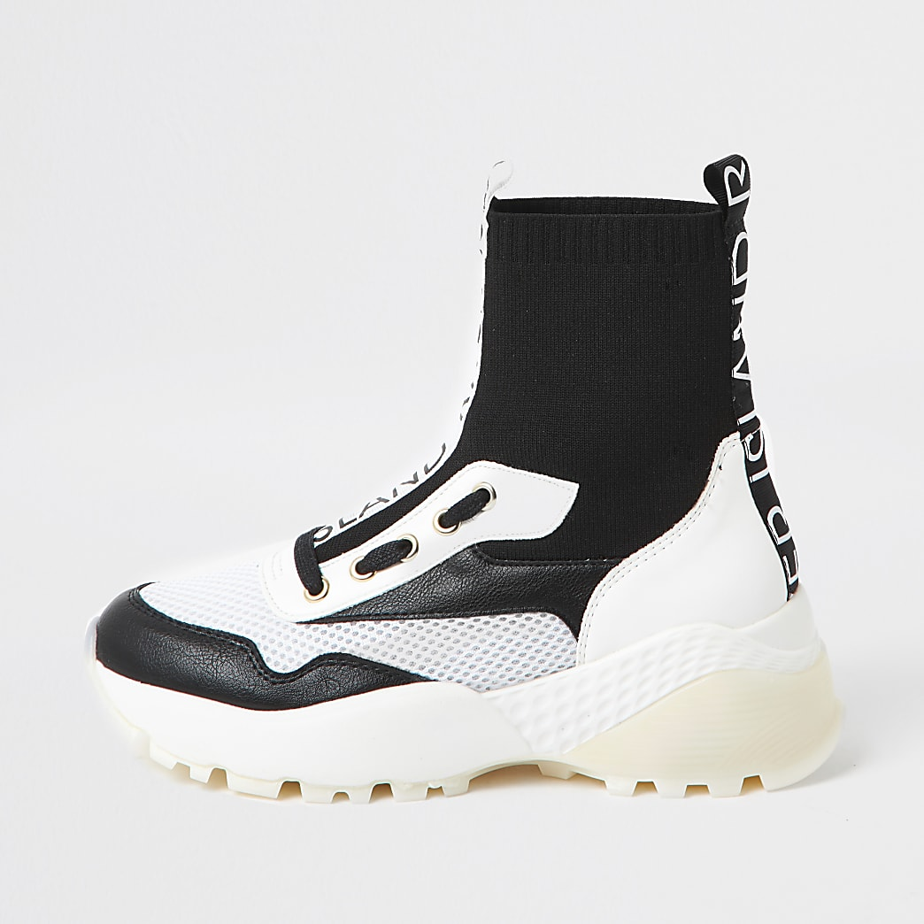 Black high top sock trainer