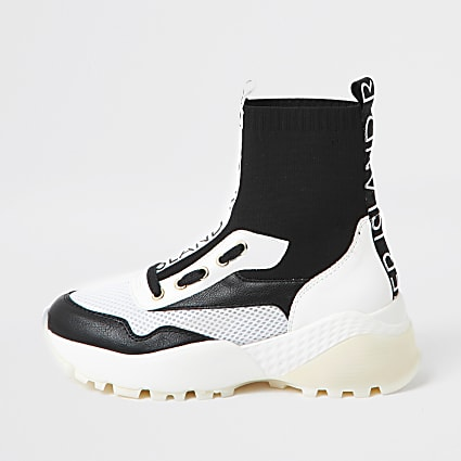 Black high top sock trainers