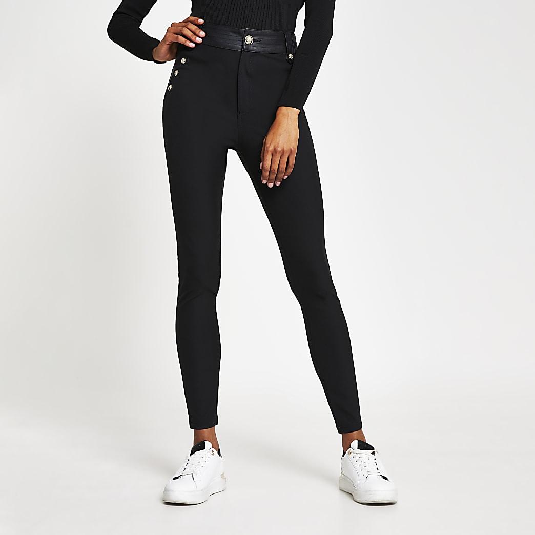 Black high waist button trousers