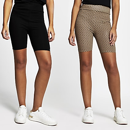 Black high waist cycling shorts 2 pack