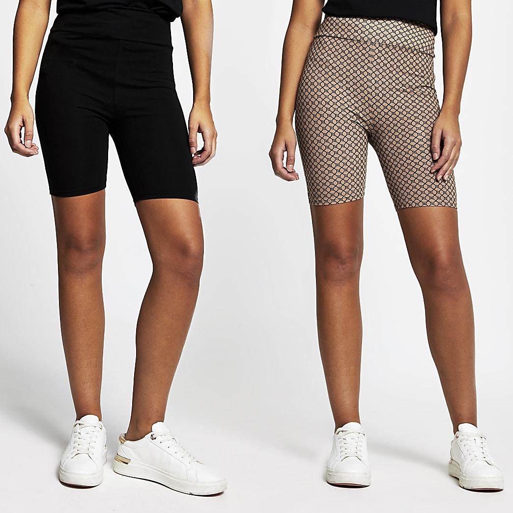 Black high waist cycling shorts 2 pack