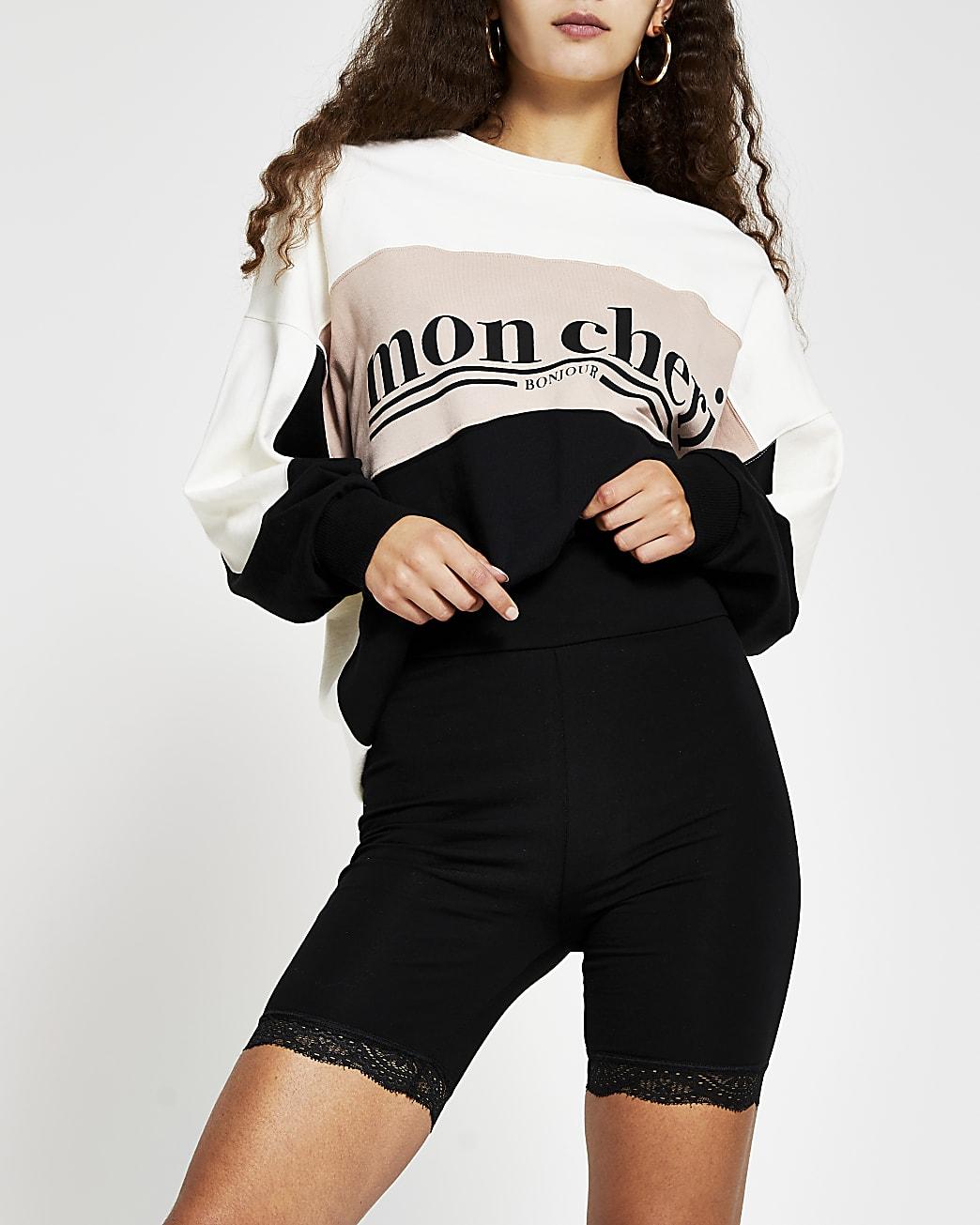 Black high waist lace trim cycling shorts