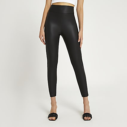 Black high waist matte coated leggings