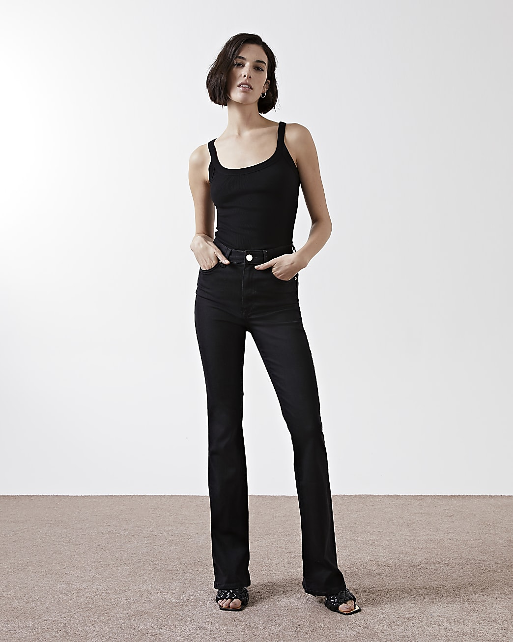 Black high waisted bootcut jeans