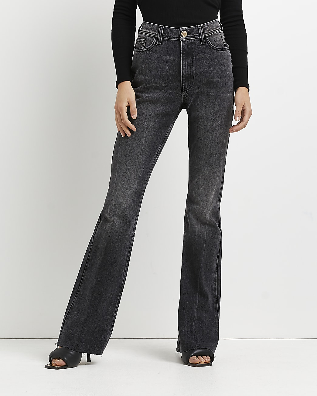 Black high waisted bum sculpt flared jeans